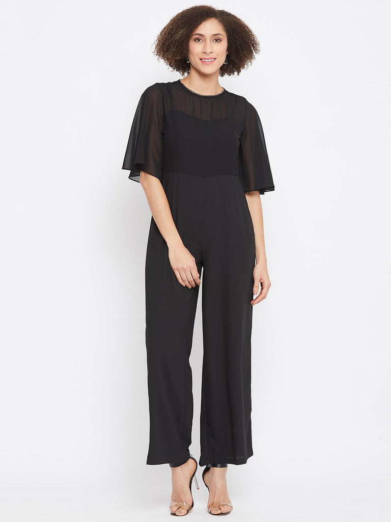 Madame Black Color Jumpsuit For Women