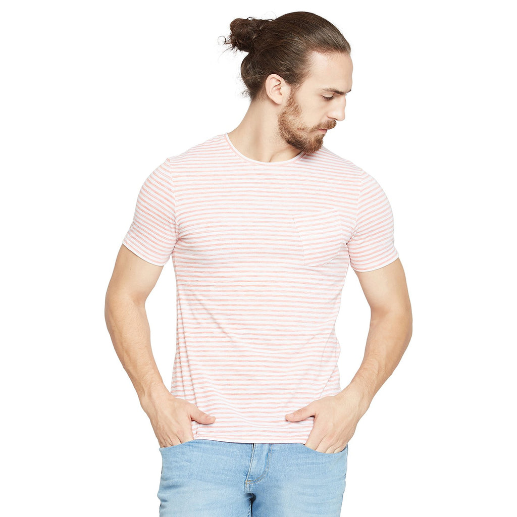 CAMLA Men Orange & White Striped Round Neck
