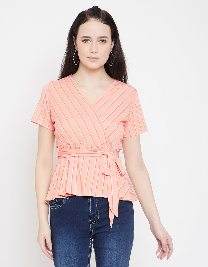 Madame Peach Half Sleeve Top For Women