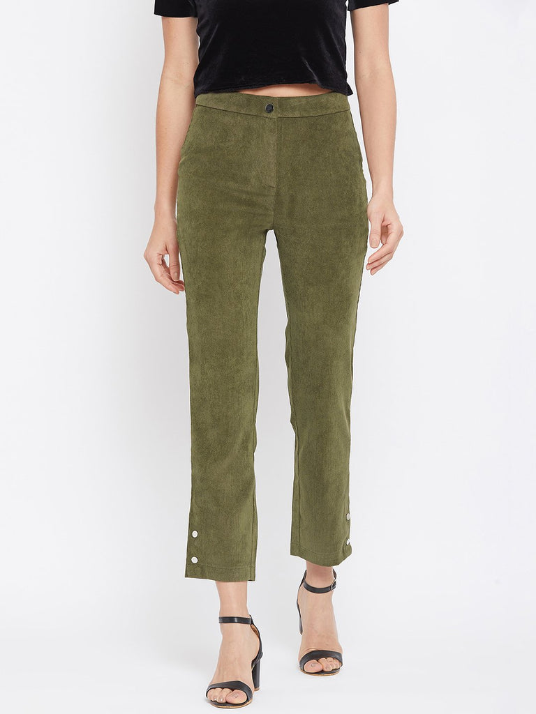 Camla Olive Color Trouser For Women