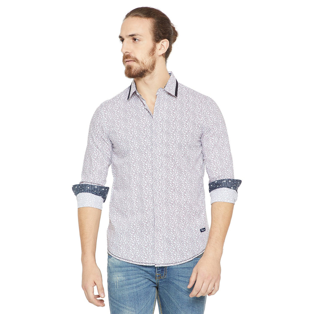 Camla Men White Printed Shirt