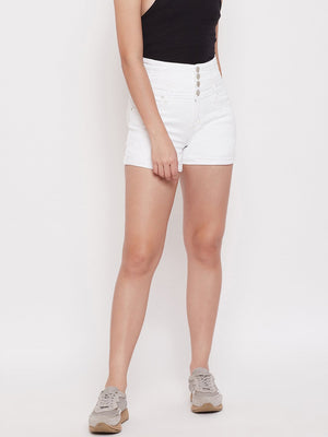 Madame White Color Denim Short For Women