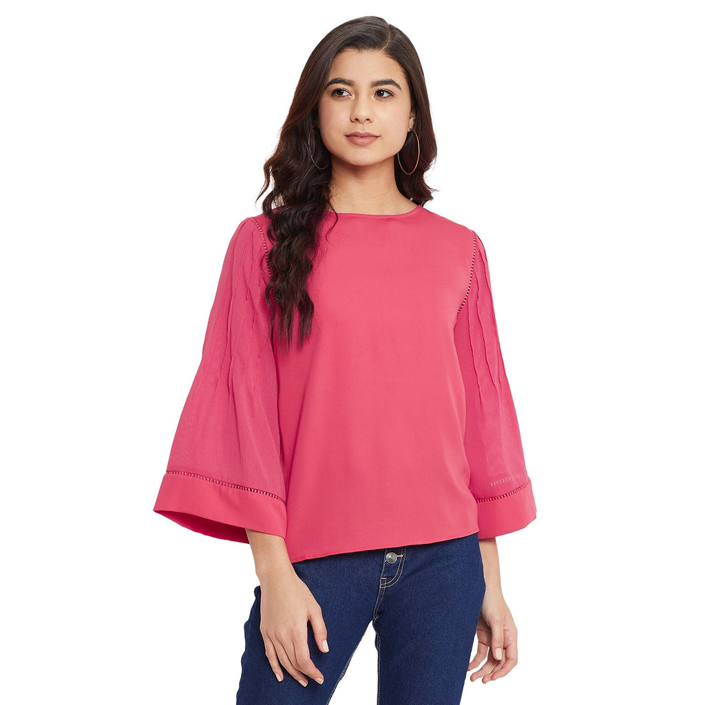 Madame Cherry Color Textile Top For Women