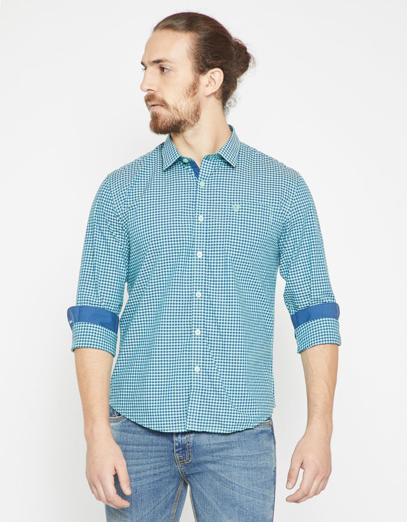 Green Checked Slim Fit Casual Shirt