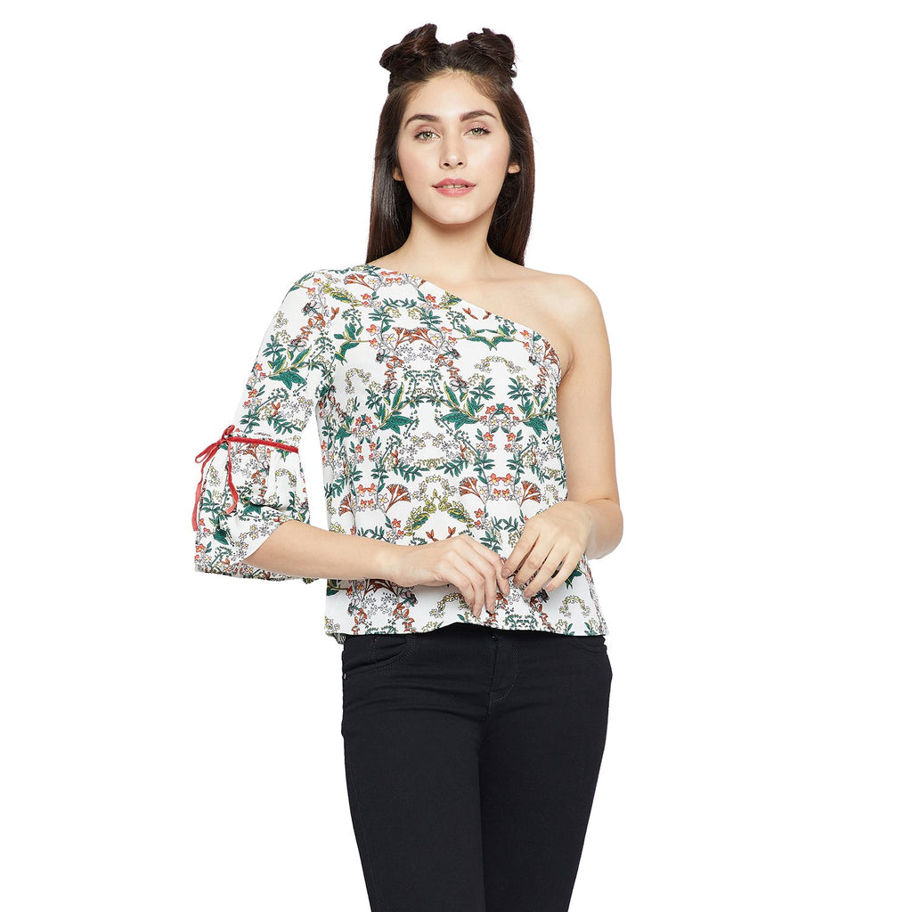 Madame Off White Printed Top