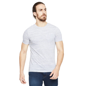 CAMLA Men Grey & White Striped Round Neck
