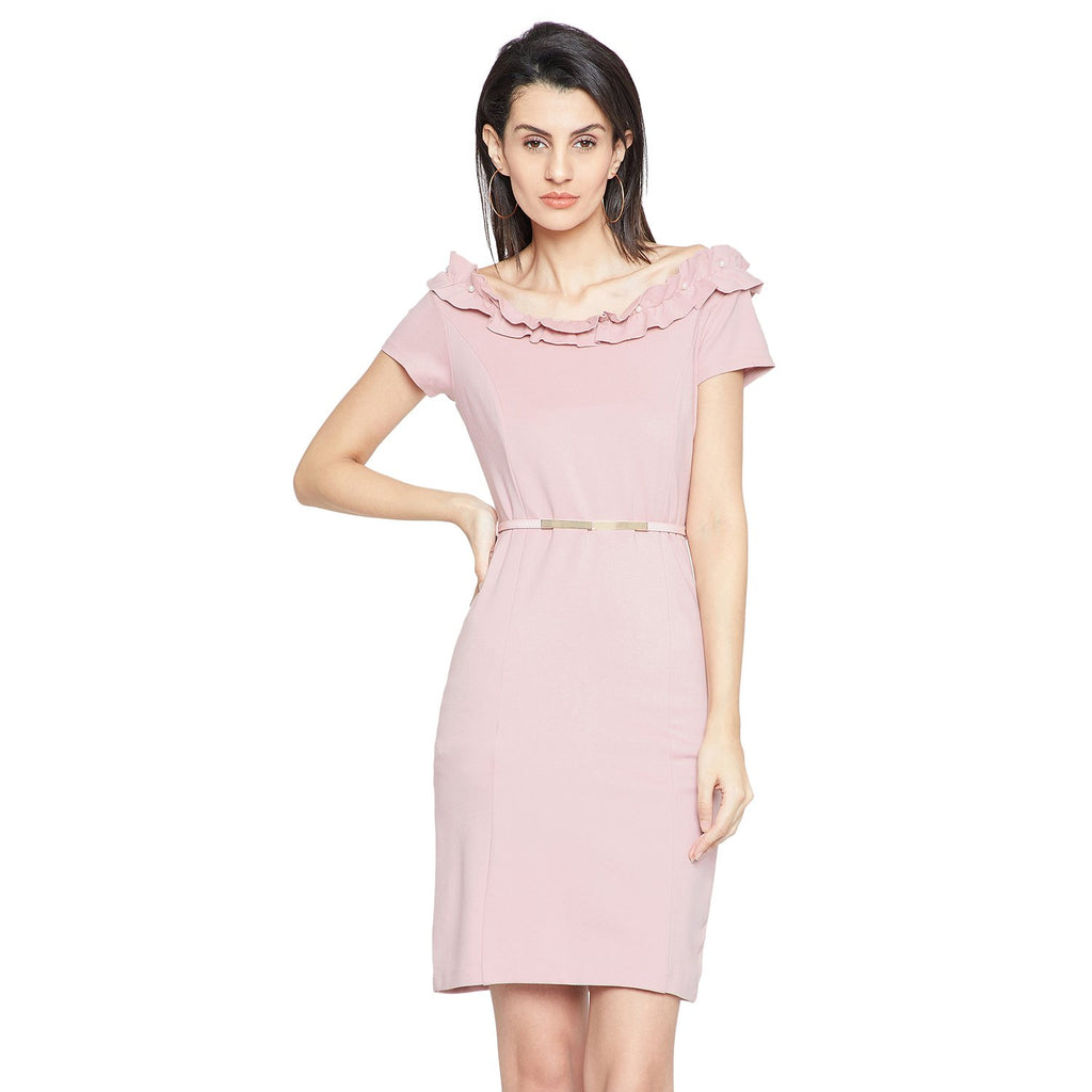 Pink Solid Casual Dress