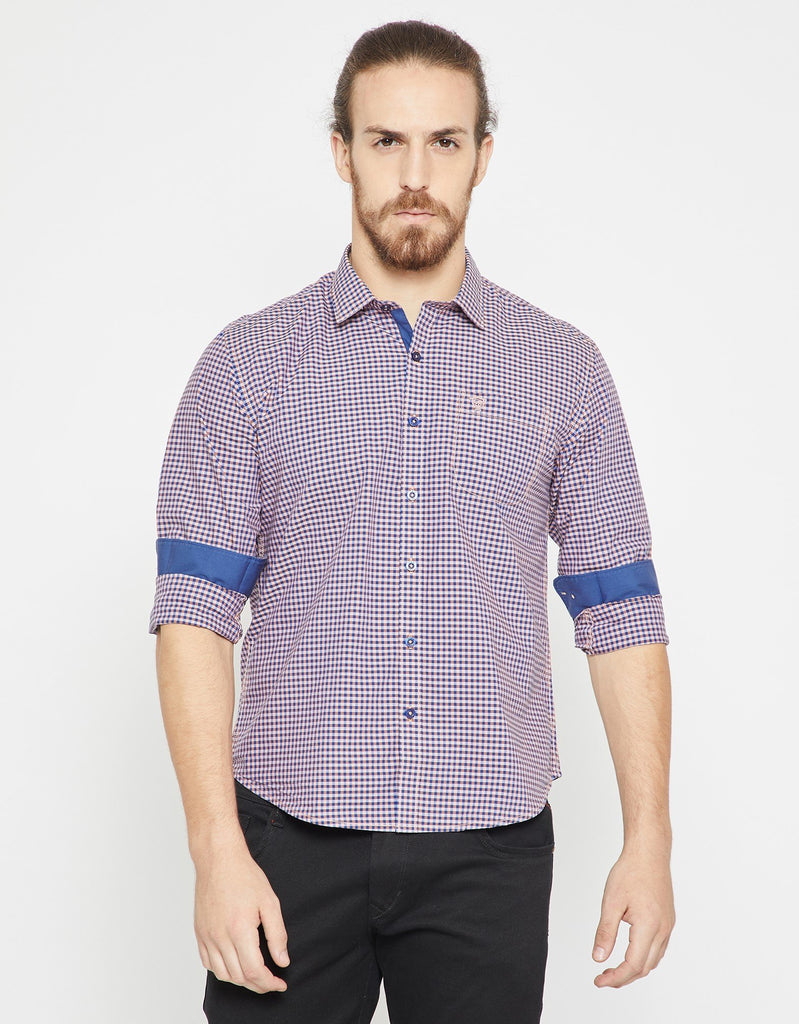 Orange Checked Slim Fit Casual Shirt