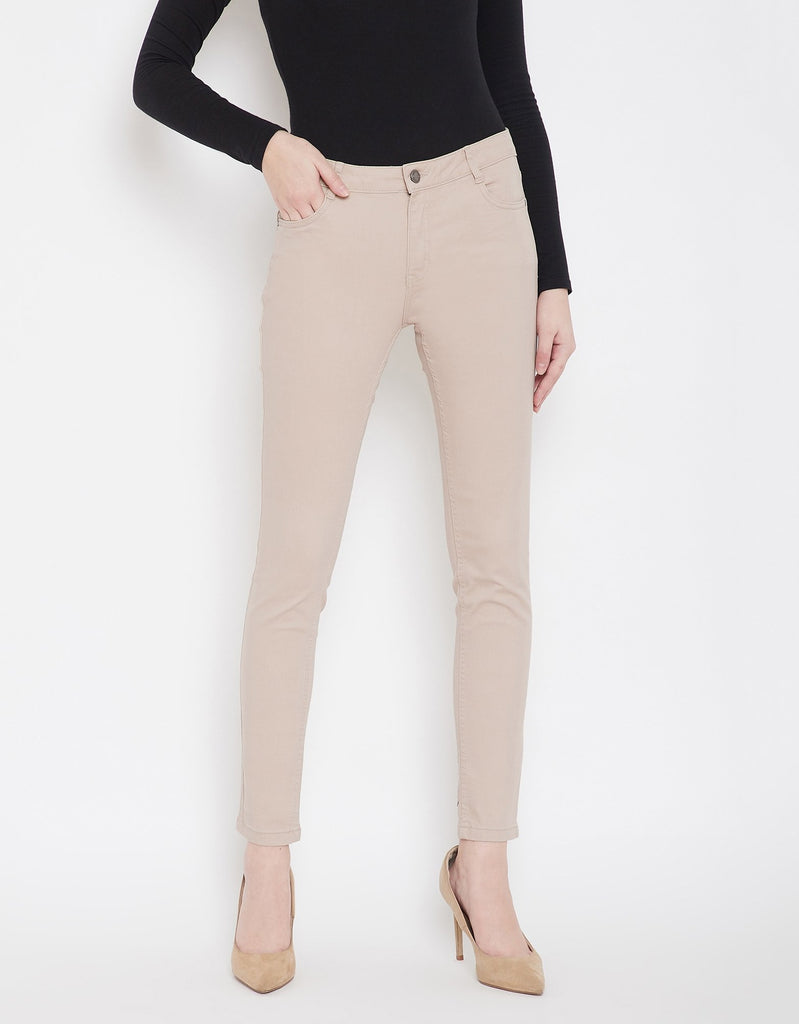 Tan Color Denim Jeans For Women
