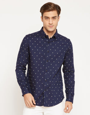 CAMLA Men Navy Blue Slim Fit Printed Casual Shirt-2XL-Navy Blue