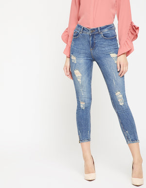Madame Women Blue Regular Fit Mid-Rise Mildly Distressed Stretchable Cropped Jeans