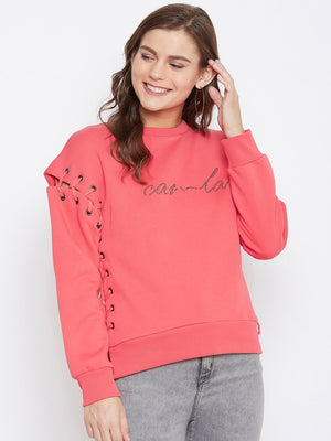 Camla Women Coral Sweat-Shirt