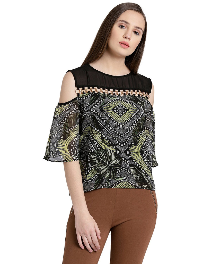 Women's Cold Shoulder Printed Top