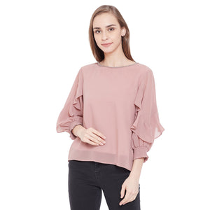 Madame Dusty Pink Color Top  For Women
