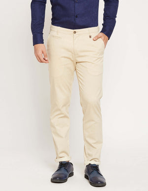 CAMLA Men Beige Regular Fit Solid Regular Trousers