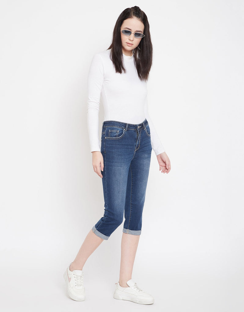Navy Color Denim Capri For Women