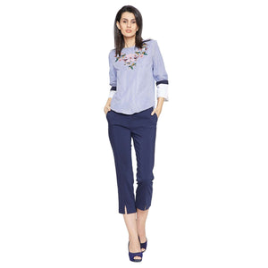 Madame Blue Embroidered Top