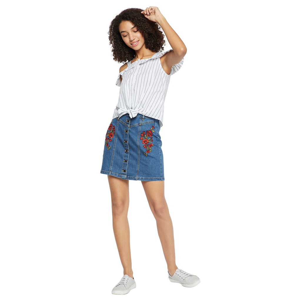 Madame Navy Blue Embroidered Casual Skirt