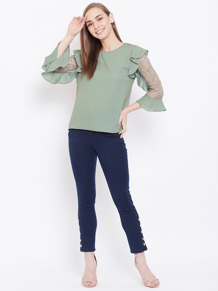 Madame Green Top For Women