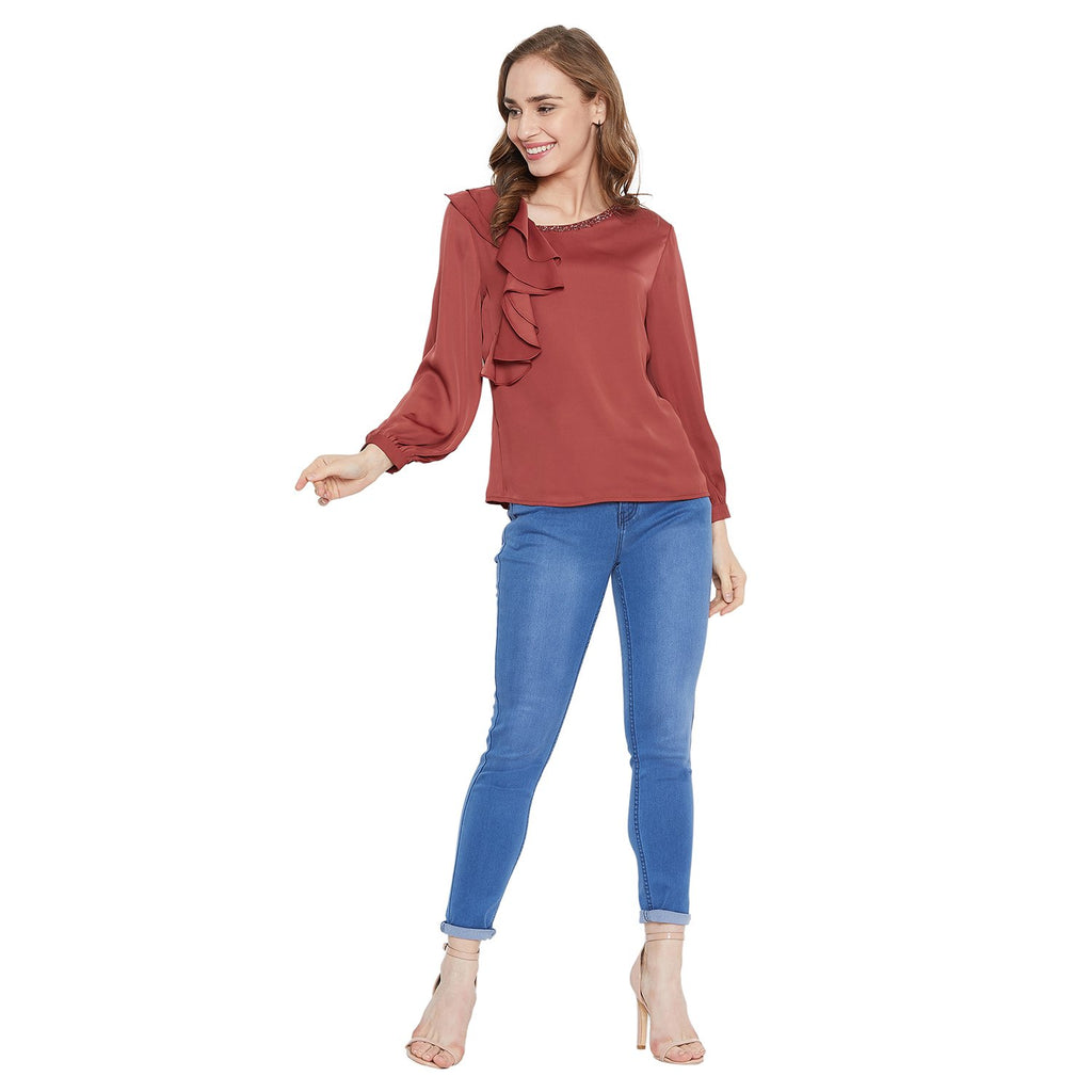 Madame Brick Color Top  For Women