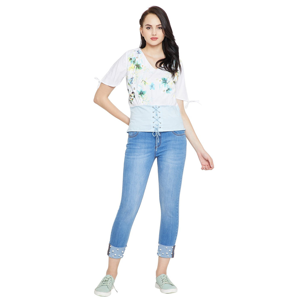 Madame White Casual Floral Top