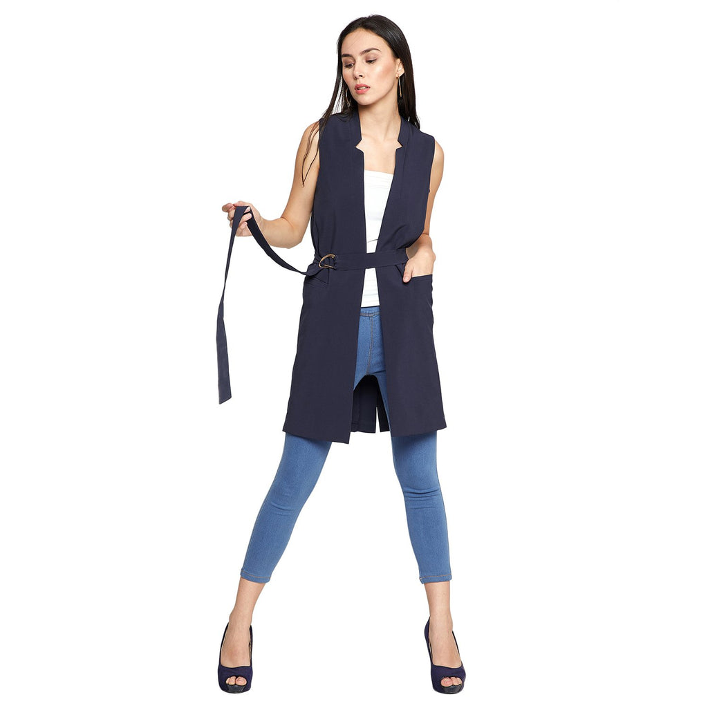 Madame Women Navy Blue Shrug