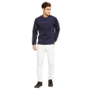 Navy Blue Textured Regular Fit Sweatshirt