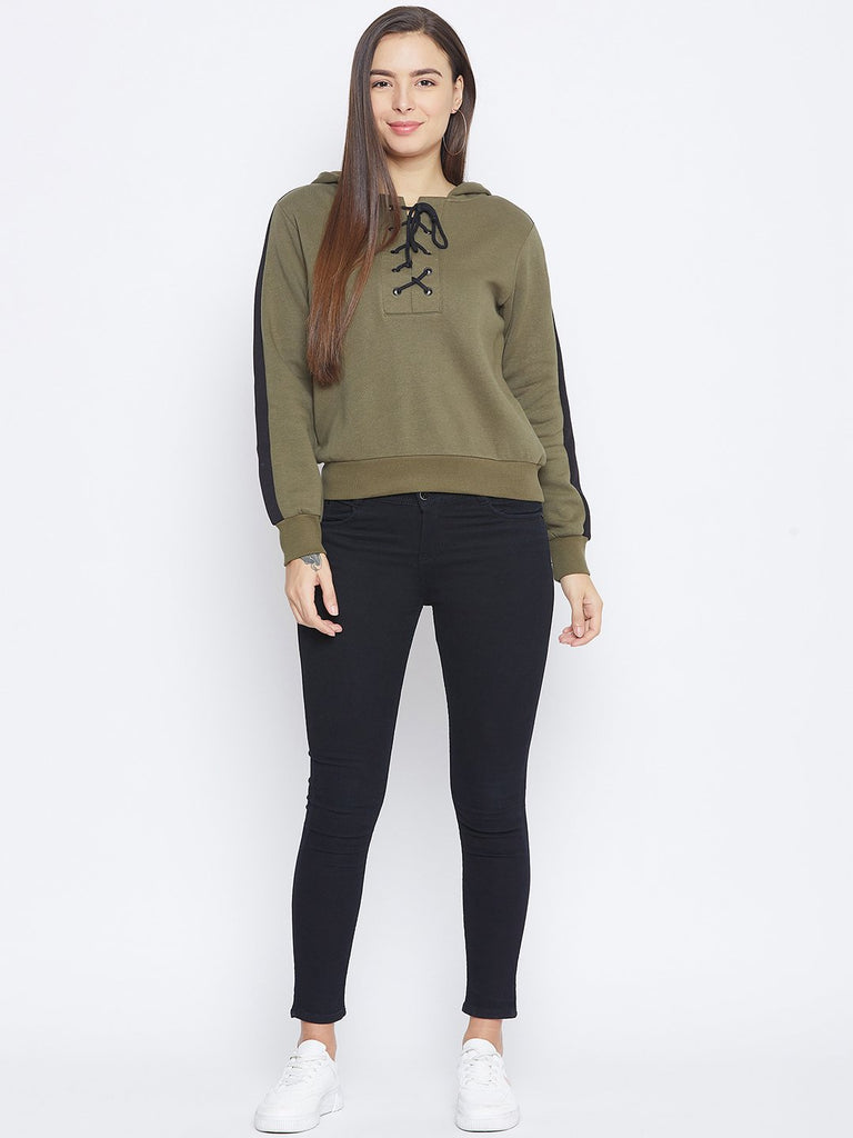 Camla Olive Color Sweatshirt For Women