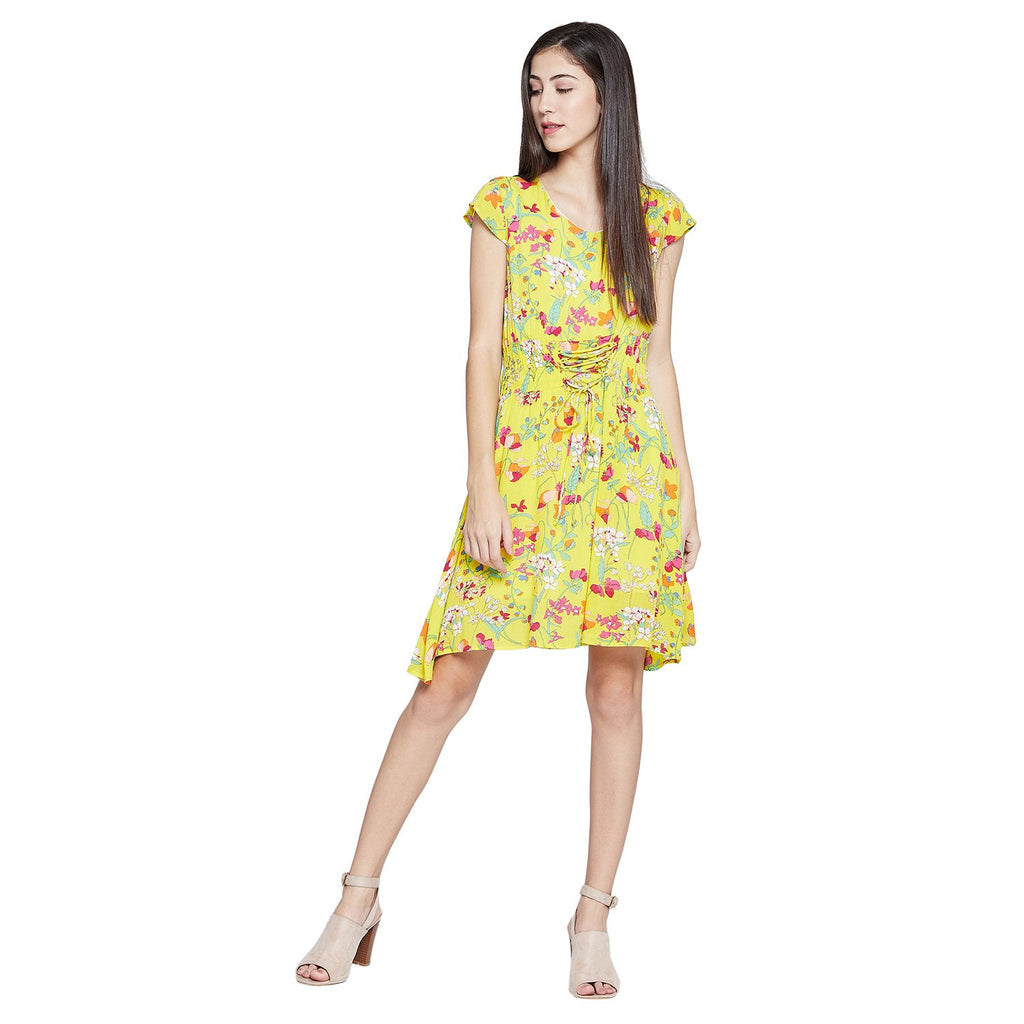 Yellow Casual Printed Dress