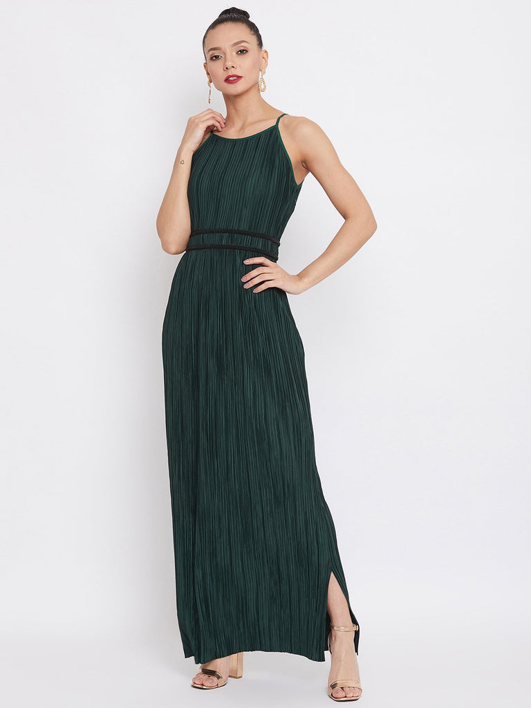 Camla Bottle Green Color Dress For Women