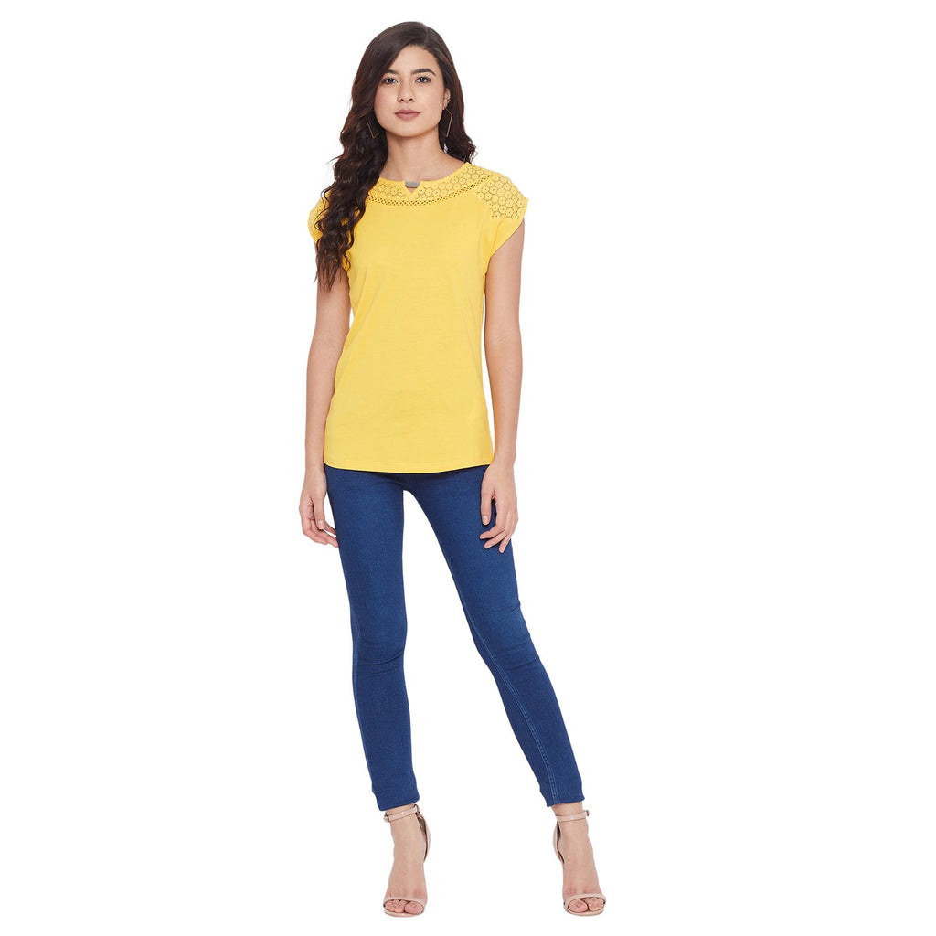 Opt Mustard Color Top For Women