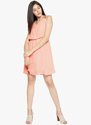 Madame Peach Embroidred Casual Dress