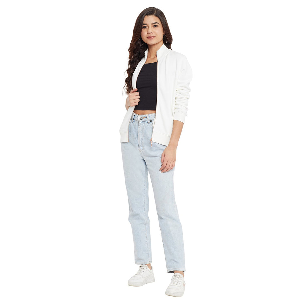 Madame Off White Color Sweat-Shirt For Women