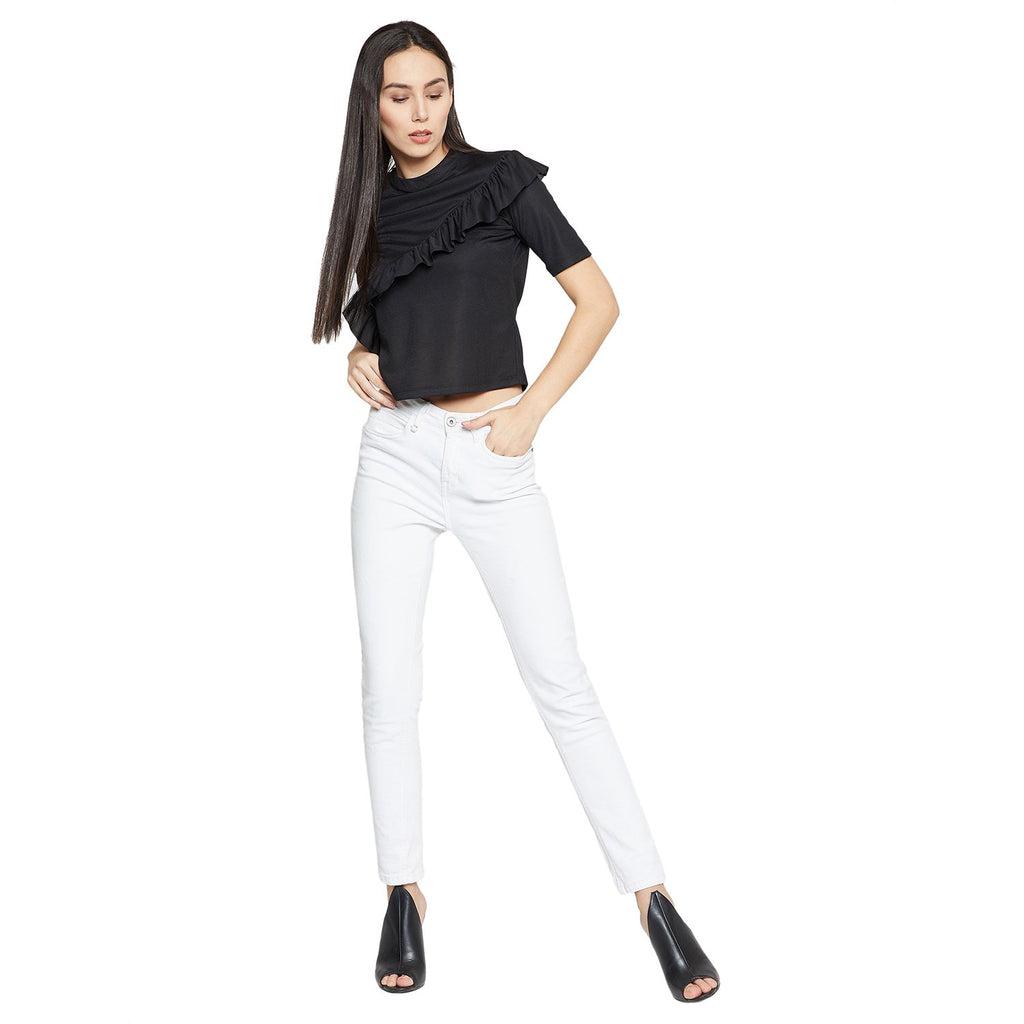 Madame Black Solid Casual Top