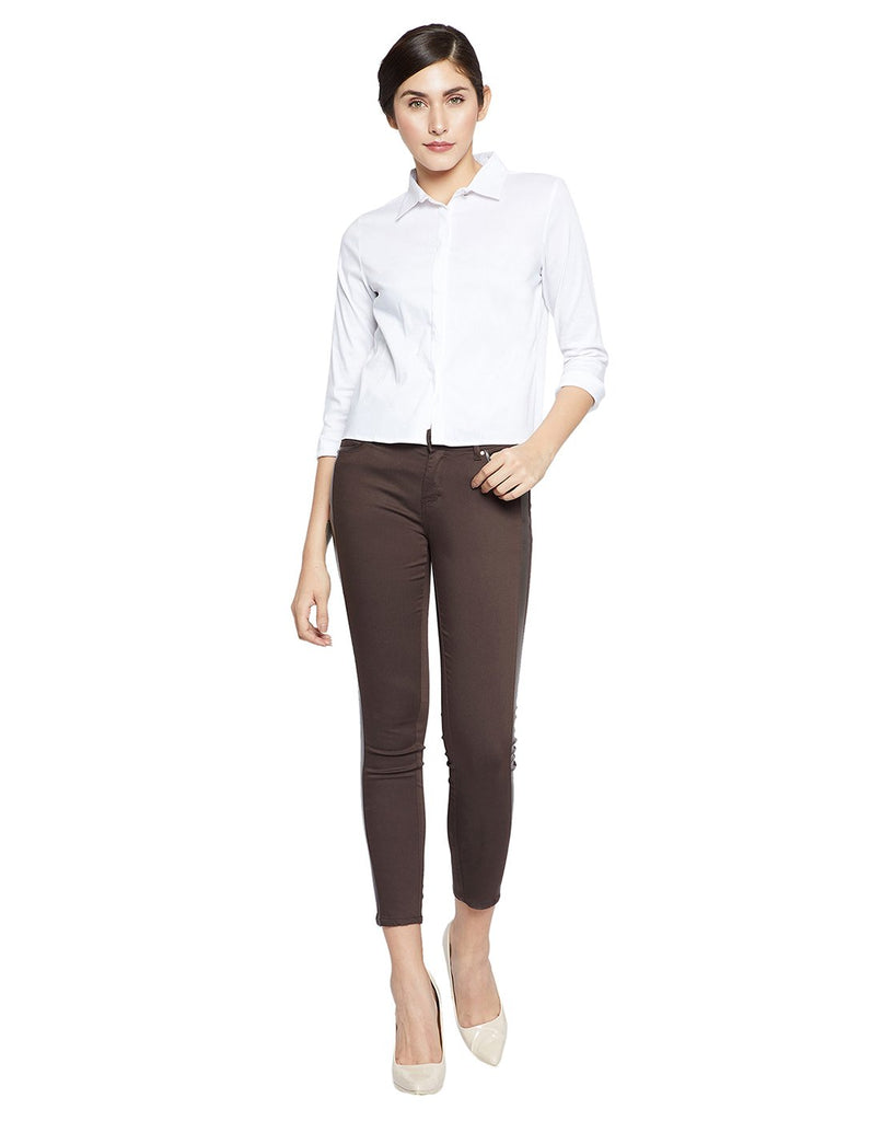 Madame Women Brown Regular Fit Solid Regular Trousers