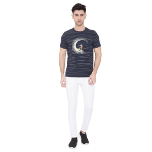 Camla Men Navy Printed TShirt