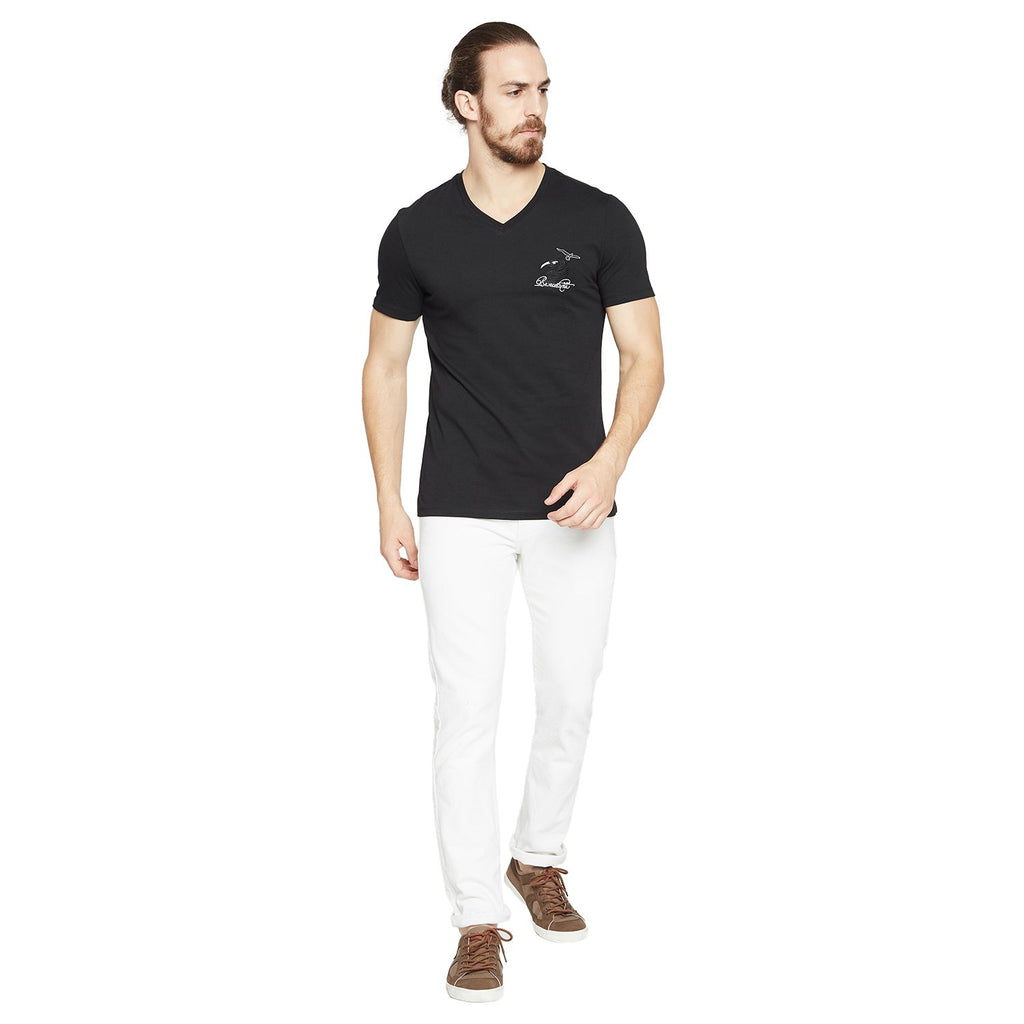 Camla Men Black Solid V-Neck T-shirt