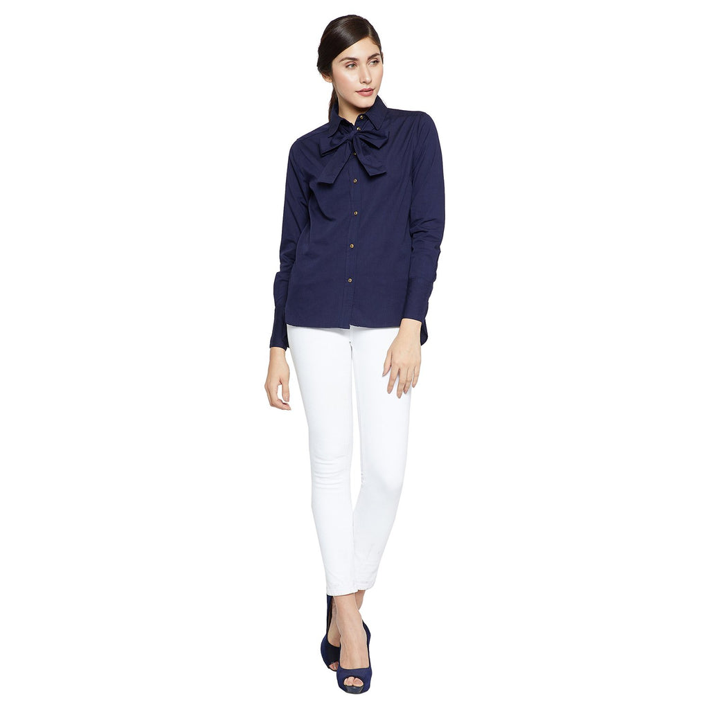 Madame Women Navy Solid Casual Shirt