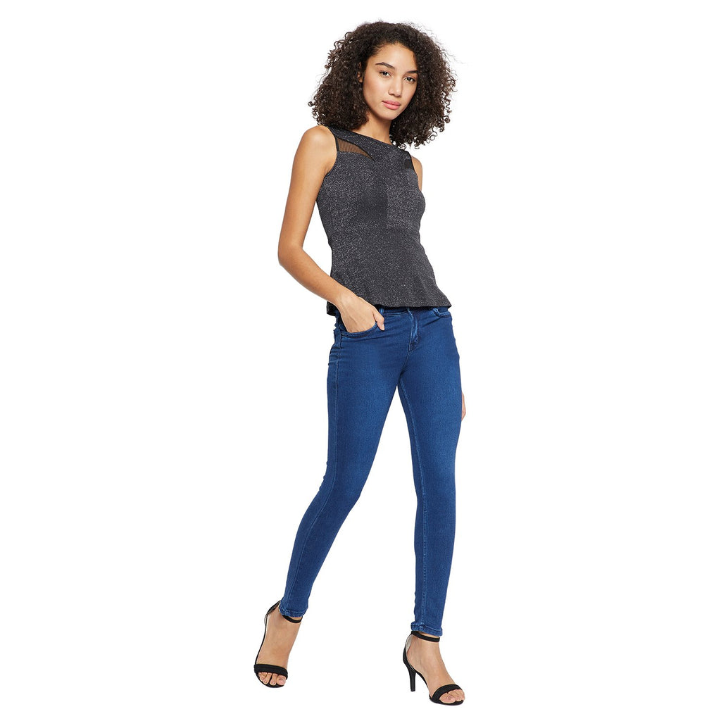 Madame Black Color Top  For Women