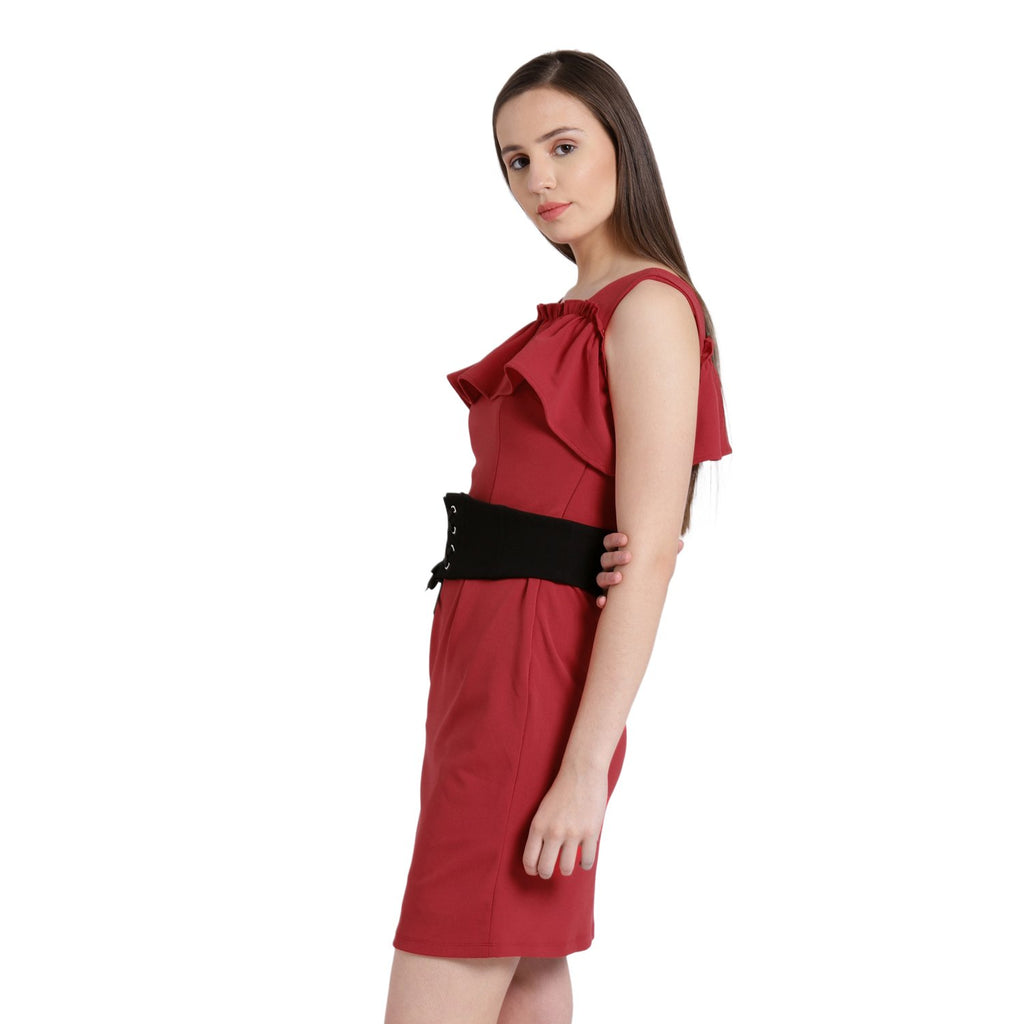 Red Solid Shift Dress