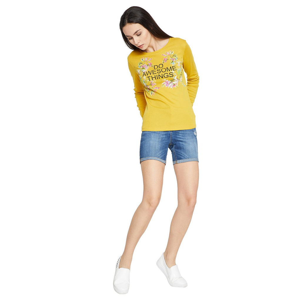 Madame Women Mustard Yellow Printed Top