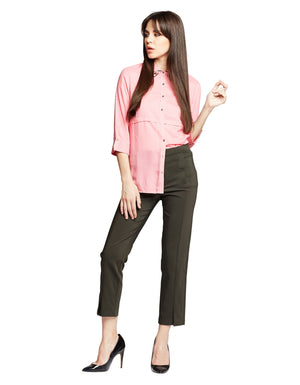Pink Solid Casual Shirts