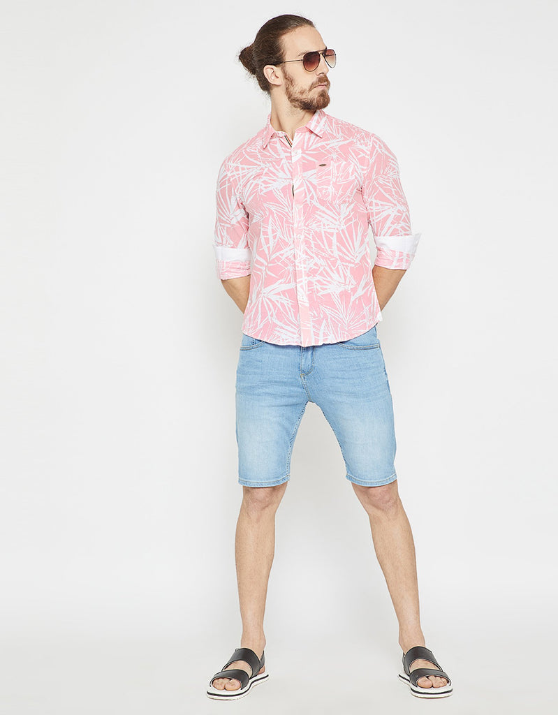 Pink Printed Slim Fit Casual Shirt