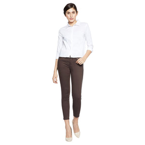 Madame Women Solid Coffee Trouser