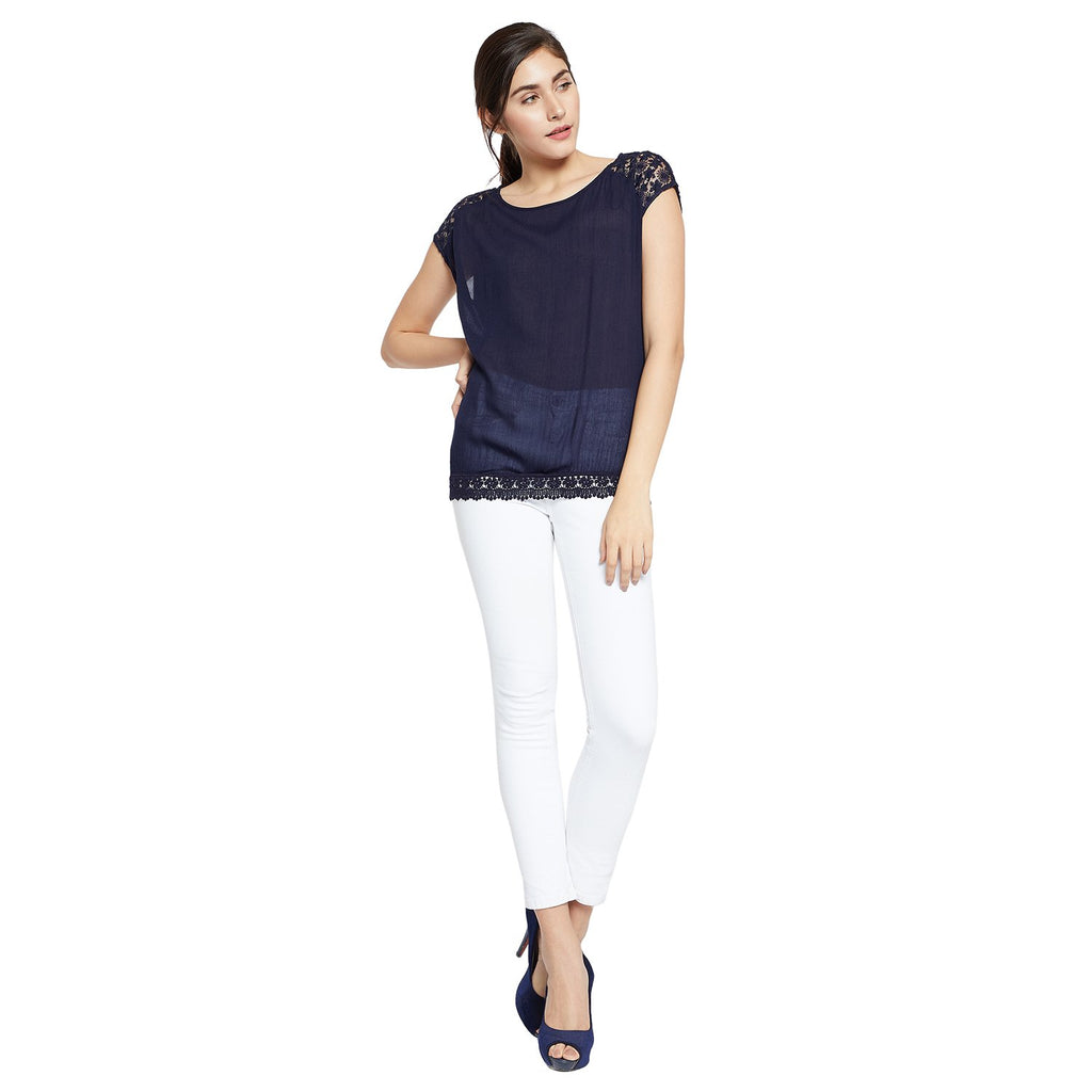 Navy Blue Solid Top