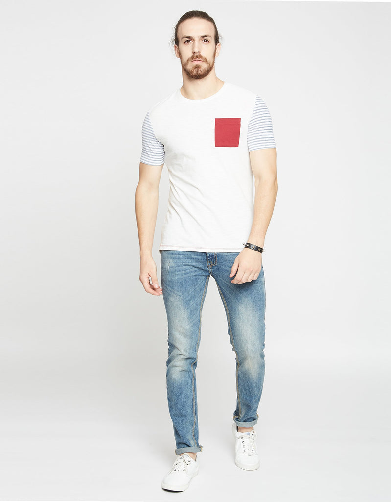 Off White Textured Regular Fit Round Neck T-Shirt