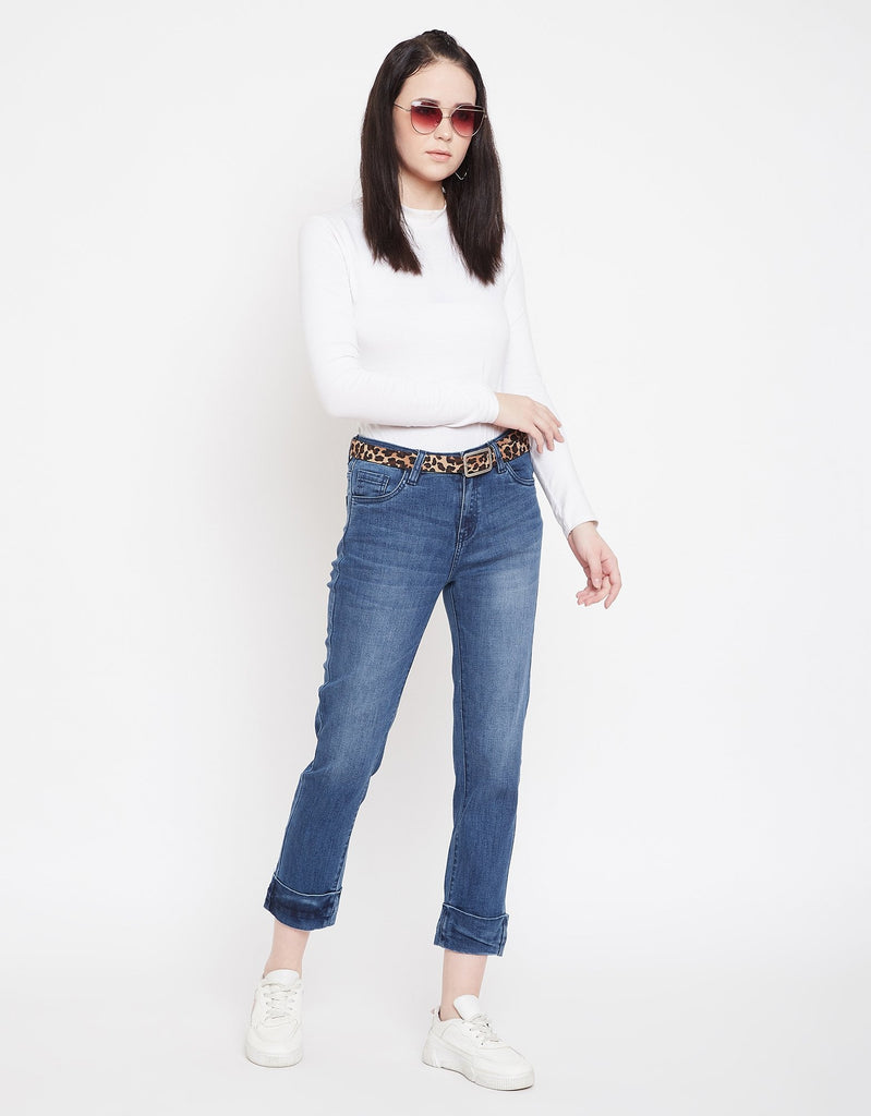 Navy Color Denim Jeans For Women