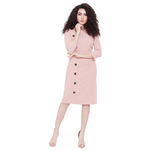 Madame Solid Knee Long Casual Dress