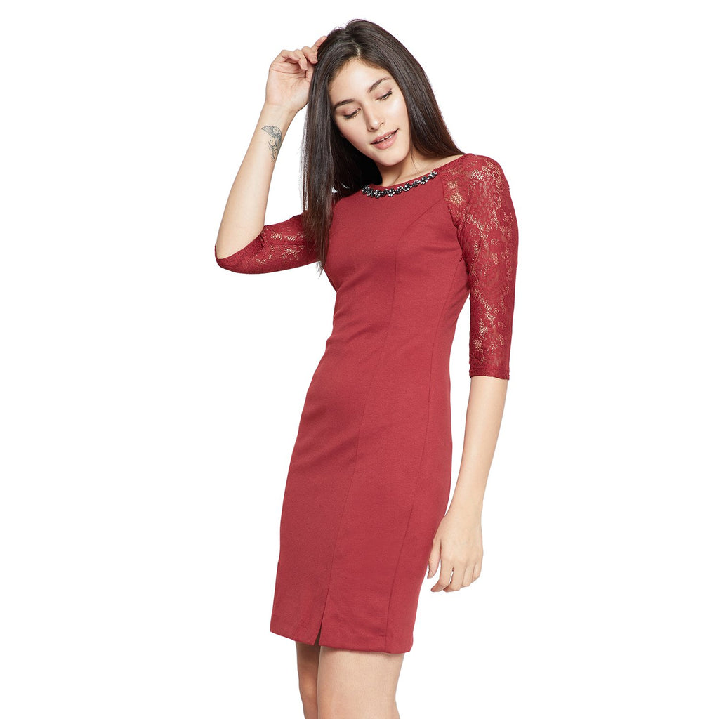Madame Red Bodycon Casual Dress