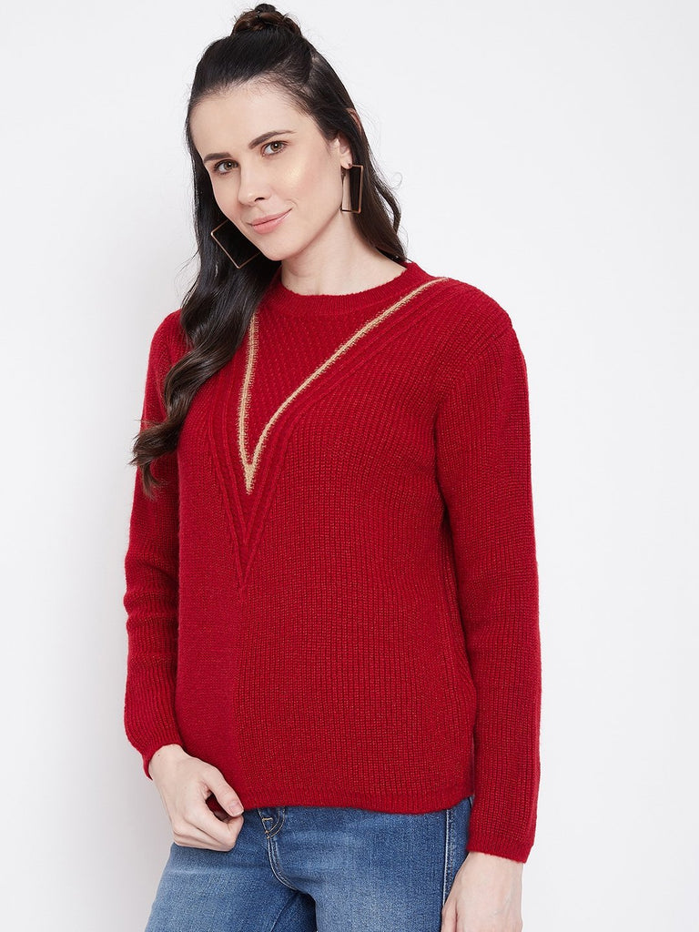 Madame Red  Color Sweater For Women